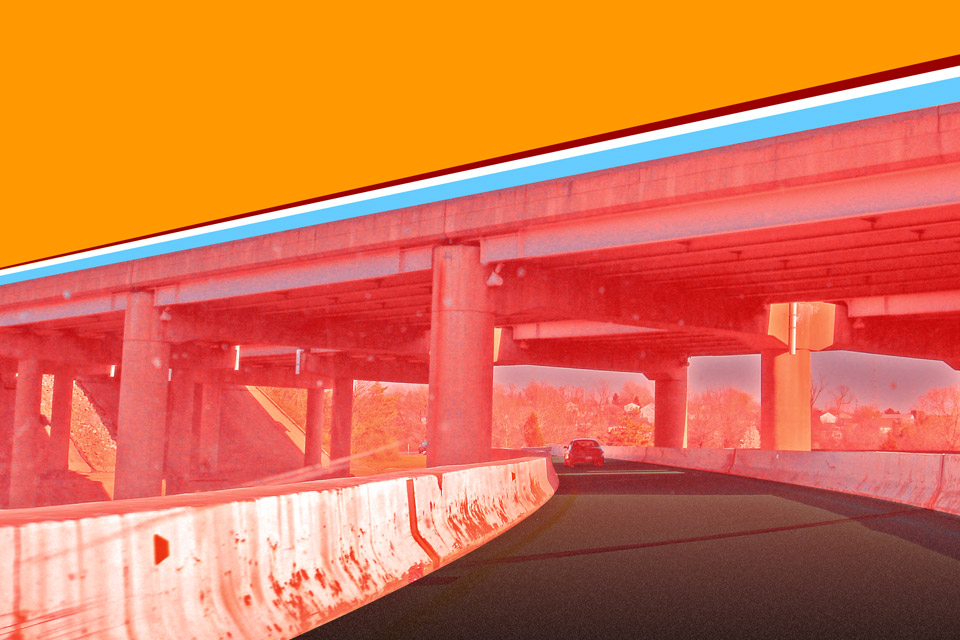 I-70 offramp illustration in bright colors